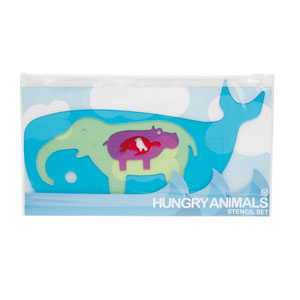 PINTAR PLANTILLES HUNGRY ANIMALS STENCIL SET