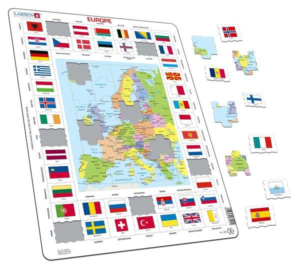 PUZZLE MAPA D'EUROPA I BANDERES (ANGLÈS)