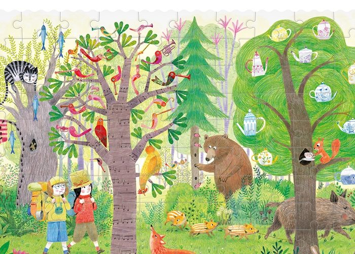 REVERSIBLE PUZZLE DAY & NIGHT IN THE FOREST POCKET